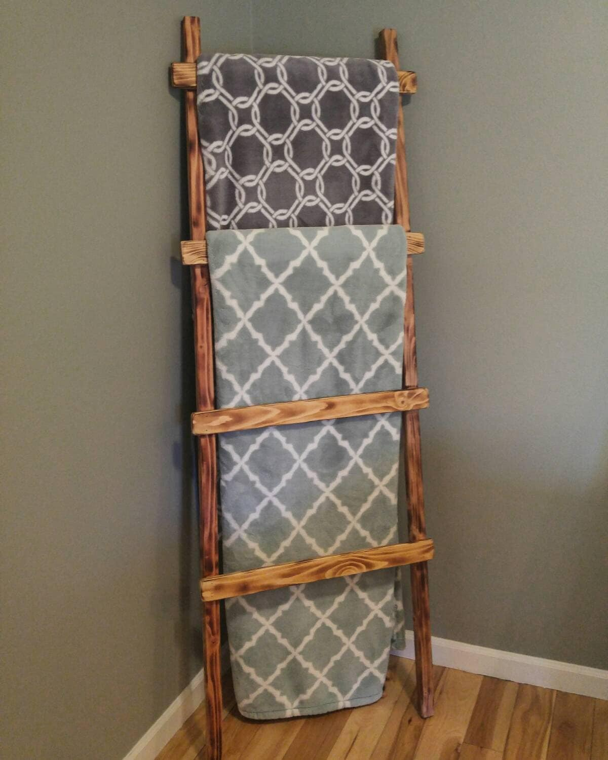 Wood ladderblanket ladder rustic home decor by csquaredcustoms for Decor ladder