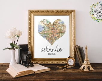 Heart Map print, printable map wall art decor, INSTANT DOWNLOAD - Orlando, Florida