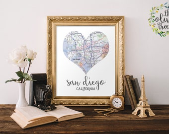 Heart map print Etsy