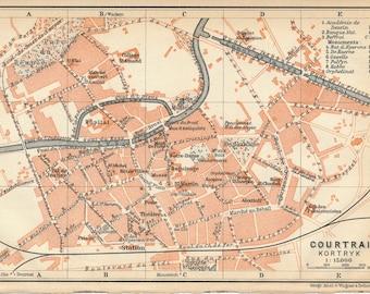 1910 Courtrai (Kortrijk) Belgium Antique Map