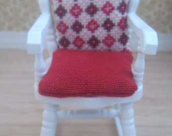 Scale White Rocking Chair with Hand Stitched Geometric Design Cushion ...