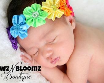 Rainbow Headband - Rainbow Flower Headband - Newborn Headband - Rainbow Baby Headband - Rainbow Halo - Girls Rainbow Flower Headband