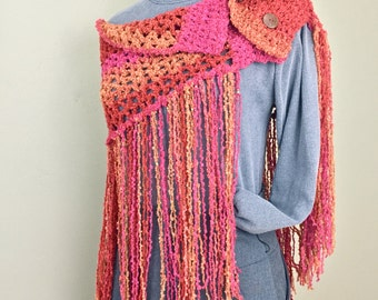 Modern Poncho Button Wrap Fringed Boho Shawl Sunset Autumn Burnt Orange Mustard Fall Fashion Stole Beaded Wrap Fringe Scarf Trendy Fashion