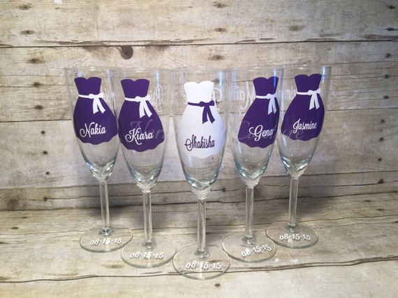 Wedding Wine Glasses - Wedding Champagne Glasses - Custom Bridal Party ...