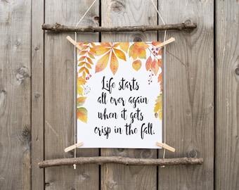 fall printable, fall print, happy fall, autumn decor, fall decor, fall quote, printable art, rustic fall decor , autumn print