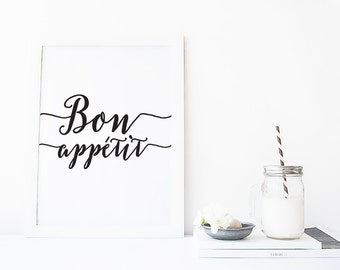 affiche citation, printable art Bon Appetit print, typography print, kitchen wall decor, housewarming gift, quote print, wall art quote