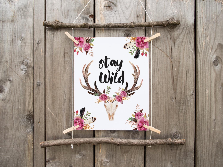 Stay Wild Deer Skull Floral Deer Skull Wild And Free Boho