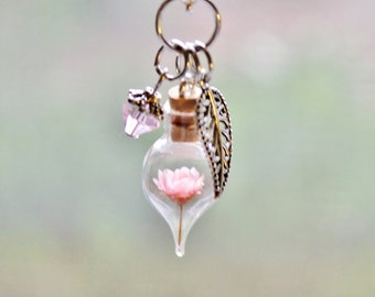 Pale Pink Flower Terrarium Necklace, Nature Jewelry Unique Gift, Miniature Glass Bottle Necklace, Flower Pendant Leaf Charm and Crystal