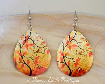 Fall Earrings, Fall Jewelry, Dangle Earrings, Autumn Jewelry, Autumn Earrings, Orange Earrings, Leaves