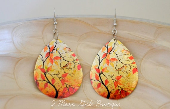 Fall Earrings, Fall Jewelry, Dangle Earrings, Autumn Jewelry, Autumn Earrings, Orange Earrings, Leaves