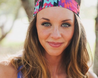 Colorful Aztec | Fitness Headband | Yoga Headband | Workout Headband | Wide Headband | Running Headband | Crossfit | Buy Any 4, Get 1 Free!