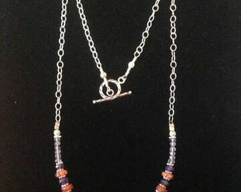 Carnelian and Amethyst on Sterling Silver Necklace with Toggle Clasp