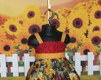 Girls Sunflower Dress, Girls, Fall Dress, Thanksgiving, Toddler, Red, Cardinal, Bird, Handmade, Sundress, Halter, Baby 6 12 18 mo 2T 3T 4T 5
