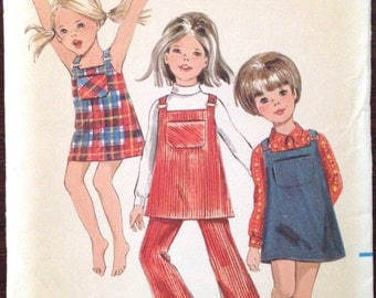 Butterick 5434 - 1960s Little Girls A Line Dress and Jumper with Square Neckline and Pants - Size 3 Chest 22 inches
