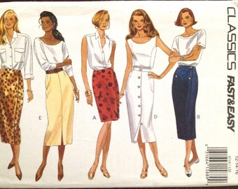 Butterick 6716 - Wrap Skirt with Button Front or Double Breasted Styles Option  - Size 12 14 16