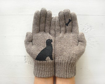 Dog Gloves, Year Of The Dog, Chinese New Year, Winter Sale, Dog Lover Gift, Gloves For Her, Dog Mitten, Gloves For Women, Mother Gift, Sale