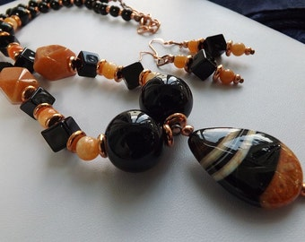 Fire Agate Pendant Necklace Earring Set ~ Handmade ~ Orange ~ Black
