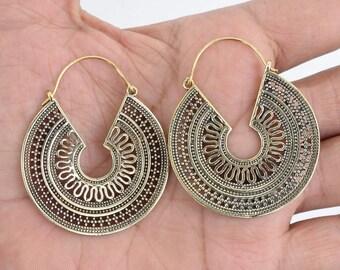 Brass Earrings, Hoop Boho Earrings, Tribal Earrings, Hoop Earrings, Gold Earrings, Gipsy Earrings, Tribal Belly Dance Jewellery  315