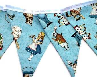 Alice in Wonderland bunting - Alice in Wonderland garland - fabric pennant banner - party bunting - blue bunting - blue garland