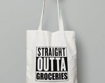 Straight Outta Groceries - Tote Bag - Canvas Tote Bag - Printed Tote Bag - Market Bag -Cotton Tote Bag - Large Canvas Tote-Farmer Market Bag