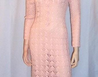 1960's Original Crocheted Pale Pink, Floor Length Gown