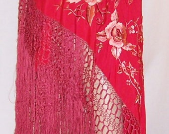 Early 20th Century, Red Canton Silk Hand-Embroidered Shawl