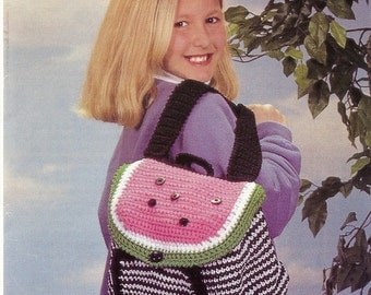 Watermelon Backpack Crochet Pattern Children Tote P-086