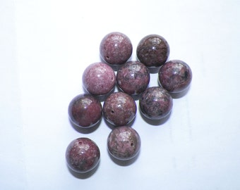 Rhodonite Focal Beads, 18mm, center drilled, lot of 10