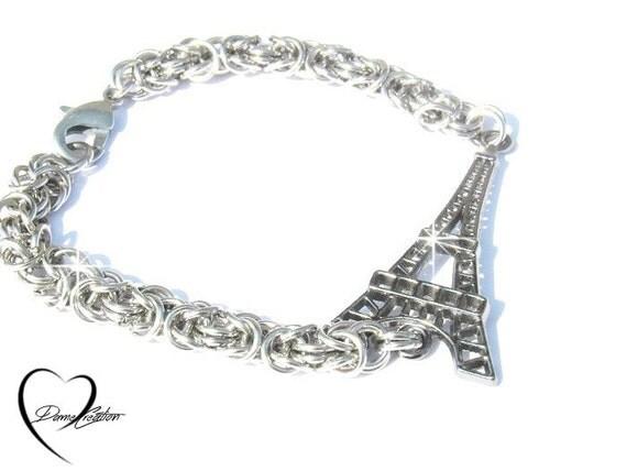 eiffel tower byzantine bracelet bracelet by damecreation