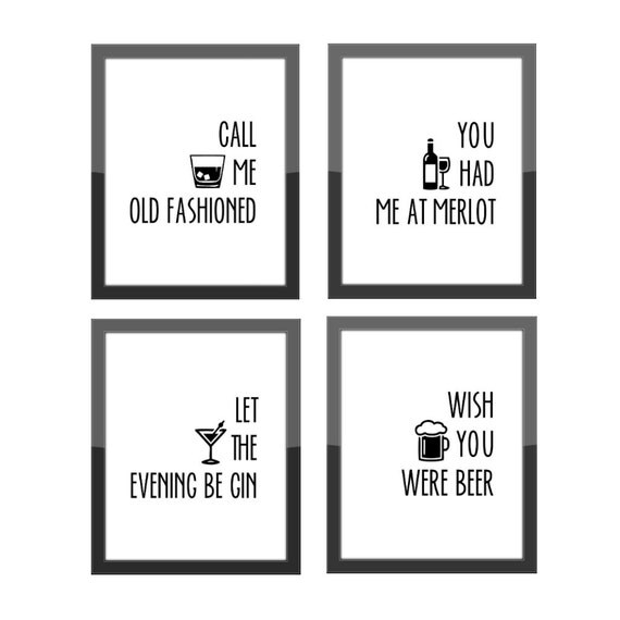 Funny Home Decor / Call Me Old Fashioned / Set Of 4 By