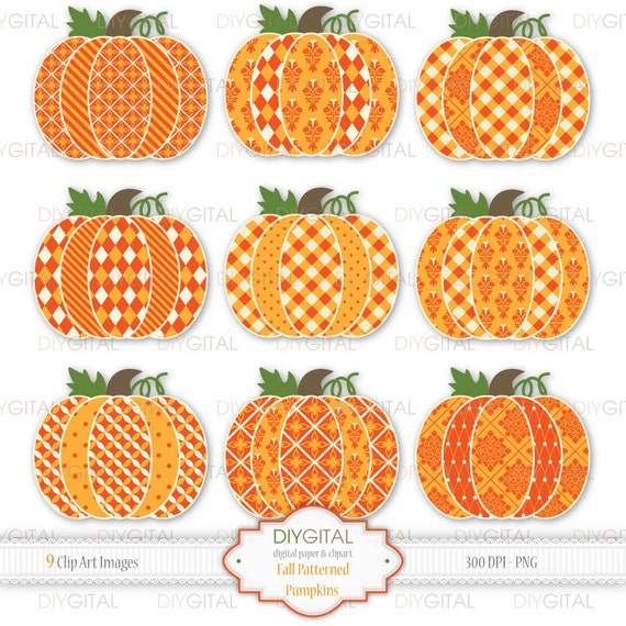 Fall patterned pumpkins clip art set 9 autumn cottage chic for Striped and polka dot pumpkins
