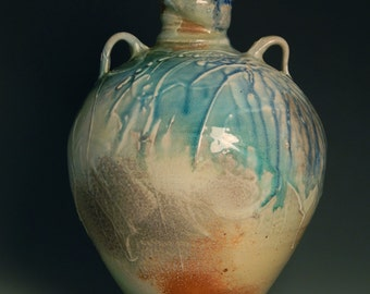 """Large Soda Fired Vase, Stoneware, Ceramic, Porcelain 13.25"""""""