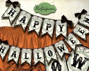 halloween  Banner Digital Collage Sheet/ halloween bunting/ DIY Party decoration