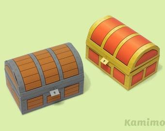 Pirate Treasure Box - Favor boxes, Cupcake boxes, Gift boxes / Printable Paper Craft PDF