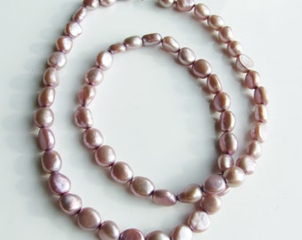 Vintage 925 Sterling Silver Pink Pearl Heavy Necklace Chain