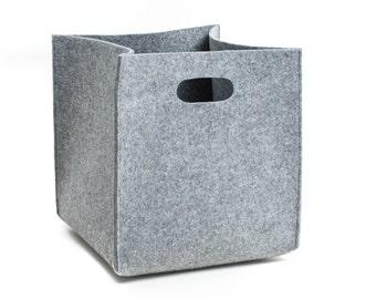 Big felt box, felt storage box, grey felt box, storage basket, storage bin, felt bin, lego storage, household storage, fabric storage