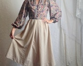 70s Tan Floral Dress // Vintage Fall Autumn Long Sleeve Suede Dress // Size: S