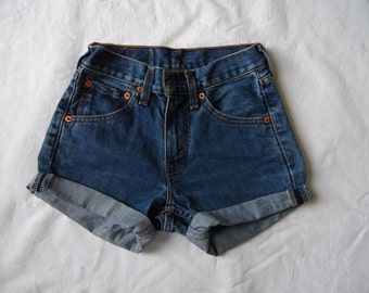 High waisted shorts, vintage Levis 595 blue denim jean shorts, cut off cuffed pockets showing hotpants, waist 23 XX Small