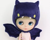 Blythe Pullip doll hat helmet and wings - kawaii purple bat set - spooky cute and soft