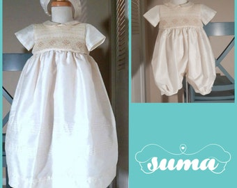 Baby Boy Christening Gown Romper with Detachable Skirt  Shantung Ivory, Baptism Gown Blessing Boy dress Dedication Baby Boy  Bonnet Included