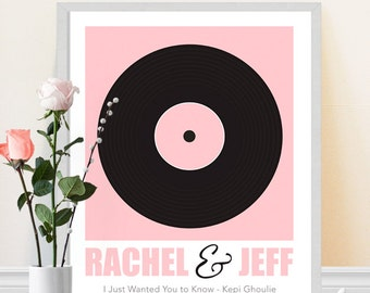 Wedding Song Print - Vinyl Record Art Print - Personalized Song Art Print - Retro Music Art - Wedding Gift Idea - Couples Gift - Wall Art