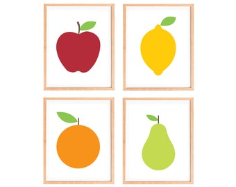 Fruit Art Prints - Kitchen Fruit Prints - Minimalist Apple Lemon Orange Pear - Modern Kitchen Art