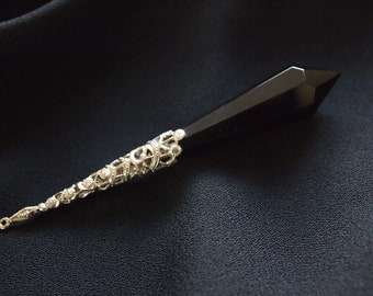 Vintage Black Glass Prism Pendant