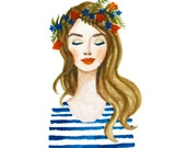 Print of Blue Flower crown girl watercolor painting. Coral lips, stripes, flowers. Fashion illustration lady, beauty, glamour, original art