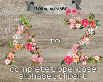 floral alphabet clipart scrapbook floral alphabet floral letters wedding clipart floral monogram - Letter Decor