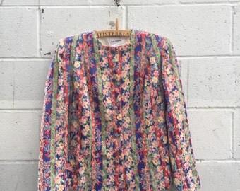 1980s floral blazer