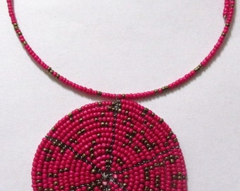 Massai style tribal Afro sistah bib choker necklace. African seed beads round pendant. Red gold.  Memory wired. - SEE DESCRIPTION