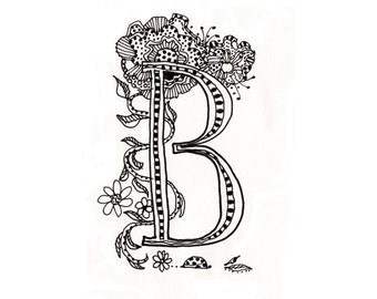 B, letter B, doodle, graphic, color in, scrapbooking, artwork, line drawing, typography