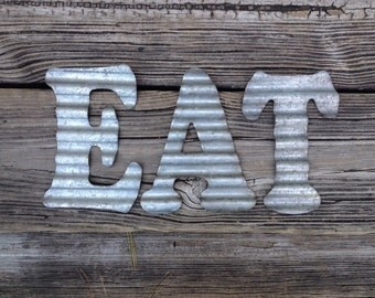 Galvanized Metal Letters EAT Industrial Wall Decor Country Kitchen Decoration Corrugated Steel Letter Primitive Home Sign Accessory