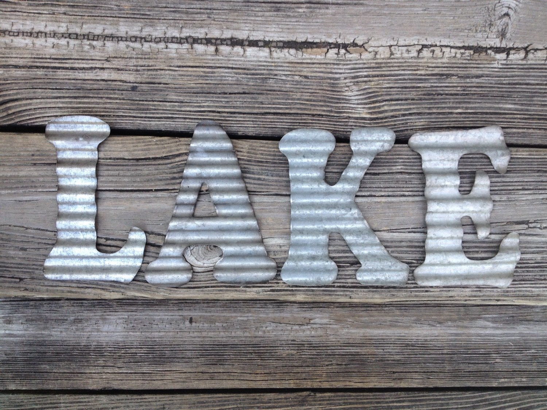 galvanized metal letters lake industrial wall decor kitchen. Black Bedroom Furniture Sets. Home Design Ideas